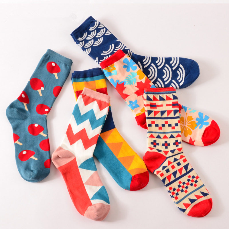 New Fashion Square Maple Stripe Chinese Knot Cartoon Long Socks For Men and Women Novelty Unisex British Style Crew Socks Cotton