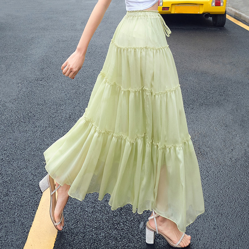 Women Summer Skirt Long Maxi Bohemian Style Elastic High Waist Full Circle Frilly Ruffle Chiffon Skirt Ladies jupe plissee femme in Skirts from Women 39 s Clothing