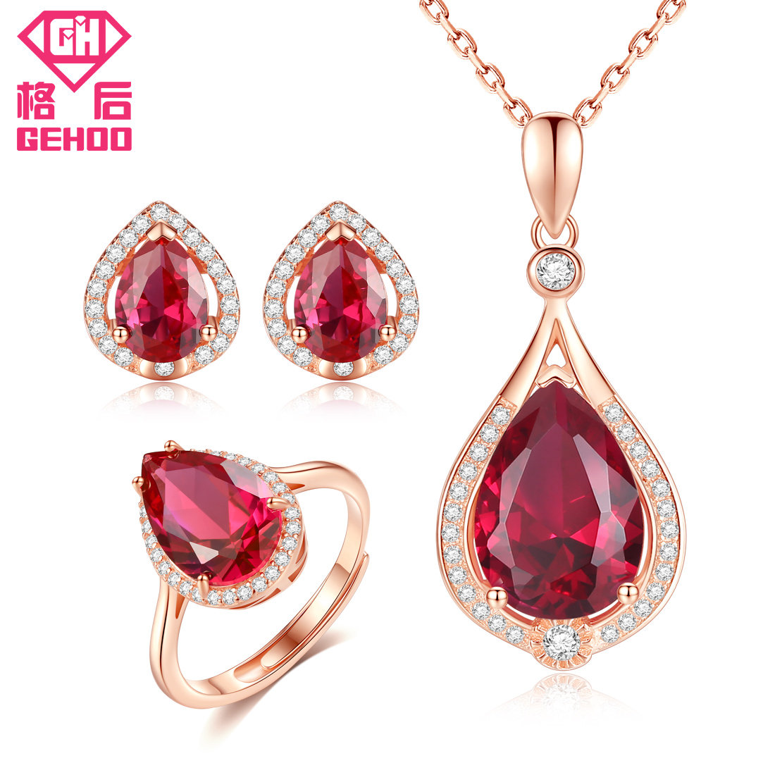 GEHOO 925 Sterling Silver Fine Jewelry Set Ruby Paved CZ Pendant Water Drop Design Women Charm Necklace & Stud Earrings & Ring a suit of chic faux ruby water drop necklace ring bracelet and earrings for women