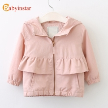 Babyinstar 2017 Autumn Winter Girls Coat Ruffles Cotton Long Sleeve Hooded Outwear Casual Solid Kids Jacket Coat