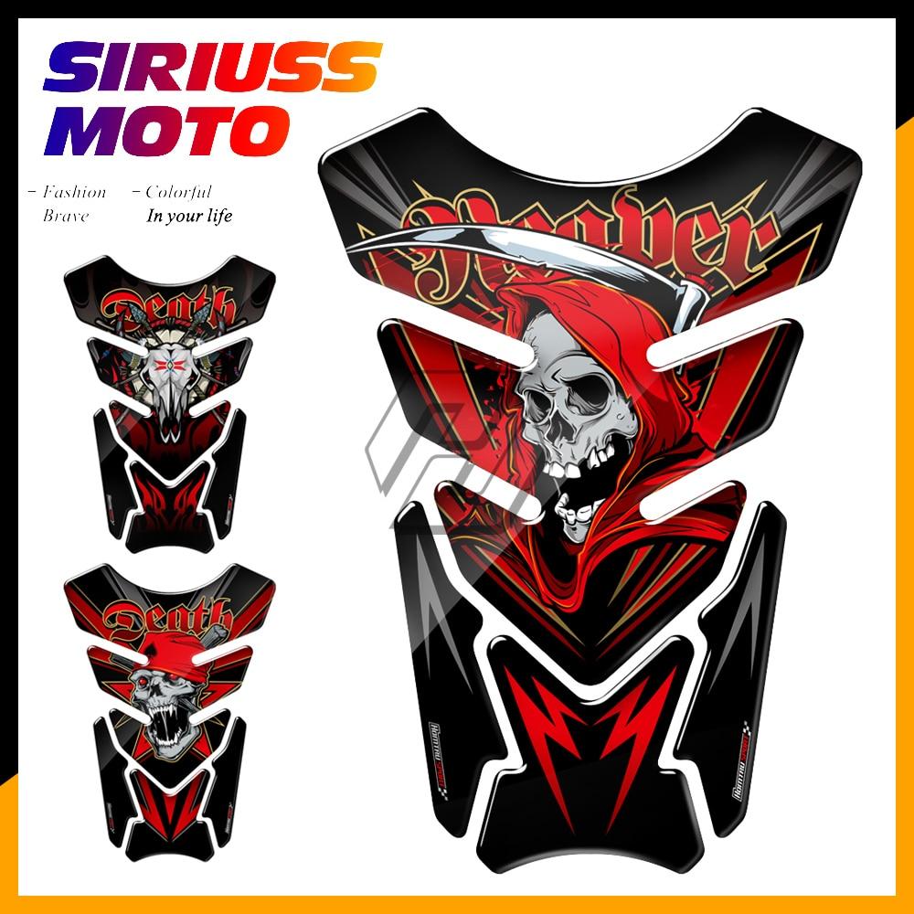 3D Universal Motorcycle Tank Pad Protector Decals Death Grim Reaper Epoxy Resin for Yamaha Honda Suzuki Kawasaki
