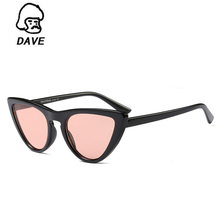 DAVE Newest Retro Cat Eye Sunglasses Women Brand Designer Lady Red Blue Lens Sun Glasses For Female Vintage Shades Eyewear UV400