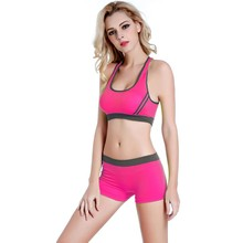 Soft Women's Fitness Workout Seamless Padded Bra Set Breathable Bra + Underwear Shorts Set