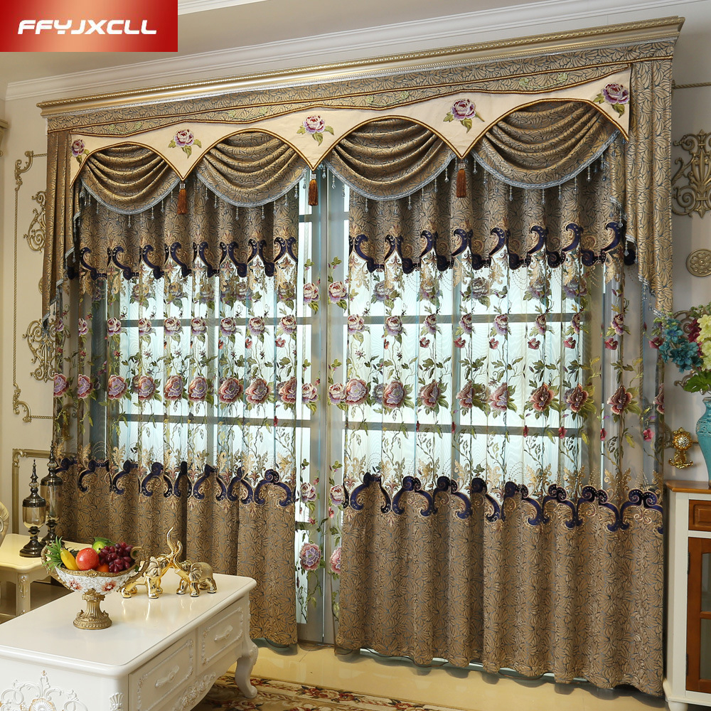 Beautiful flowers tulle luxury embroidered valance for Como hacer cortinas para sala