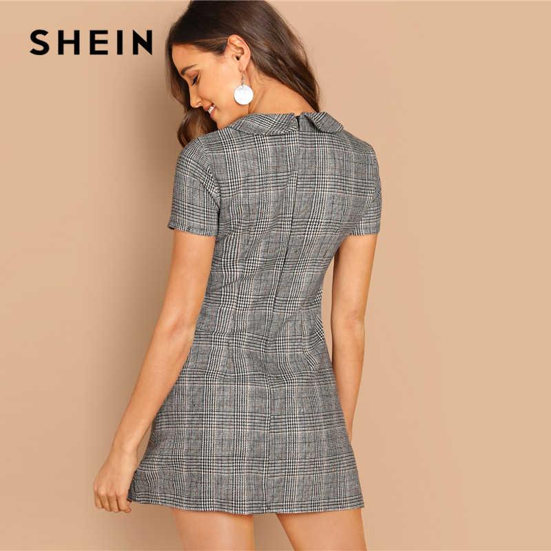 SHEIN Платье В Клетку Женское Летнее Серое Элегантное Платье На Молнии С Короткими Рукавами