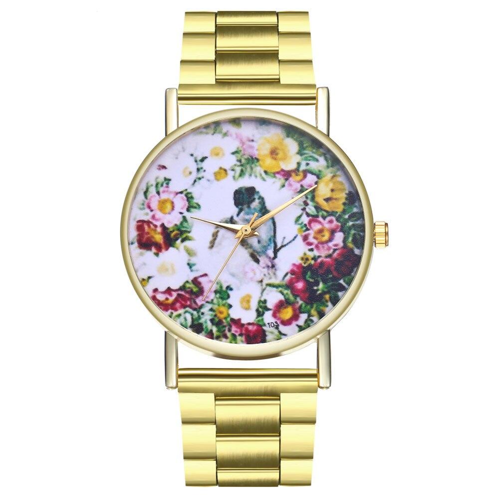 Bracelet Watches Steel-Band-Buckle Alloy-Case Quartz Printed Women Bear Round Simple-Style