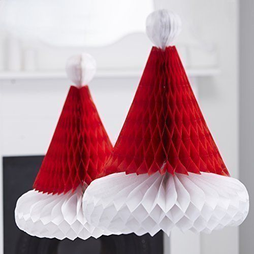 1pc Santa Hats Christmas Honeycomb Paper Claus Gifts Festive Hanging Decorations