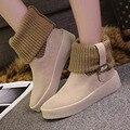 Mulheres Botas Botas de Neve Botas de Inverno Quente Botas de Algodão Mais Botas de Tornozelo Senhoras Sapatos de Inverno Preto Bege