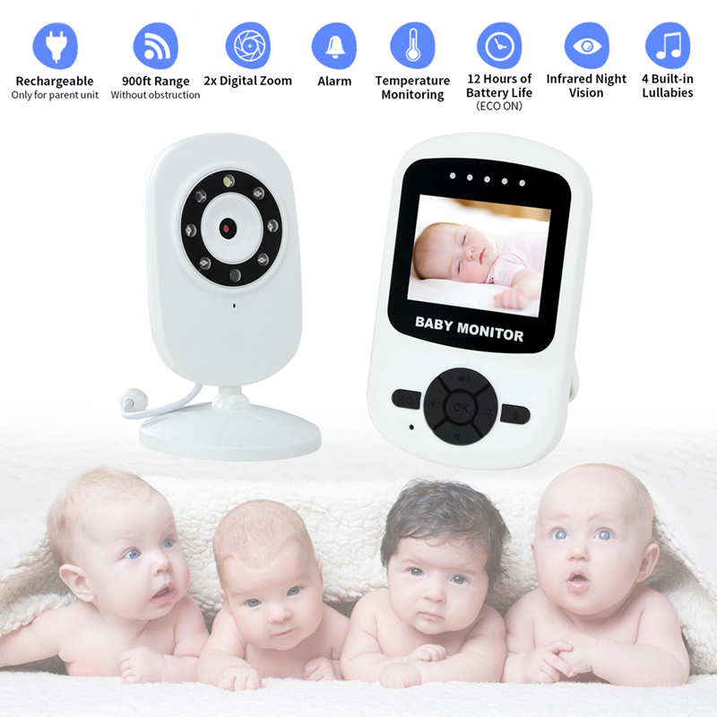 "2.4"" LCD Video Baby Sleep Monitor With Camera  VOX Mode Ghz Two Way Talk Night Vision 4 Lullabies Temperature Monitoring"