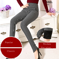 Winter plus velvet stretch thick black and white vertical stripes waist was thin thin female waist pants