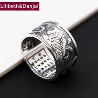 Buddha Männer Öffnen Ring S999 Sterling Silber Schmuck Buddhistischen Herz Sutra Einstellbare Ring Weihnachten geschenk Schmuck FR68
