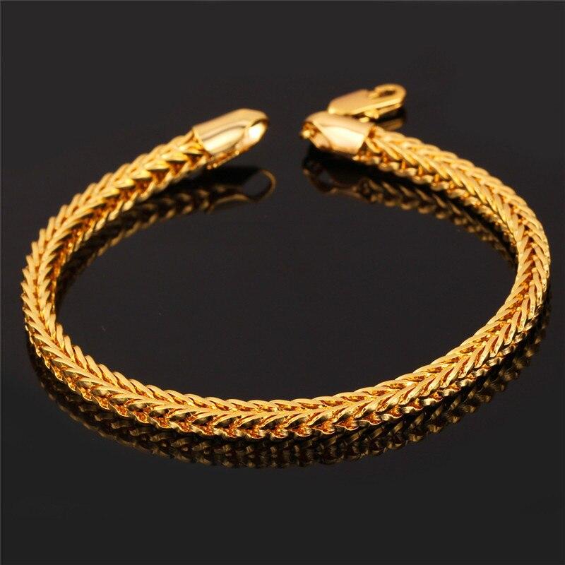 Collare Dubai Bracelet Men Jewelry Gold Color Ethiopian 21cm 4mm Foxtail Franco Mens Hand Chain H705 In Link Bracelets From