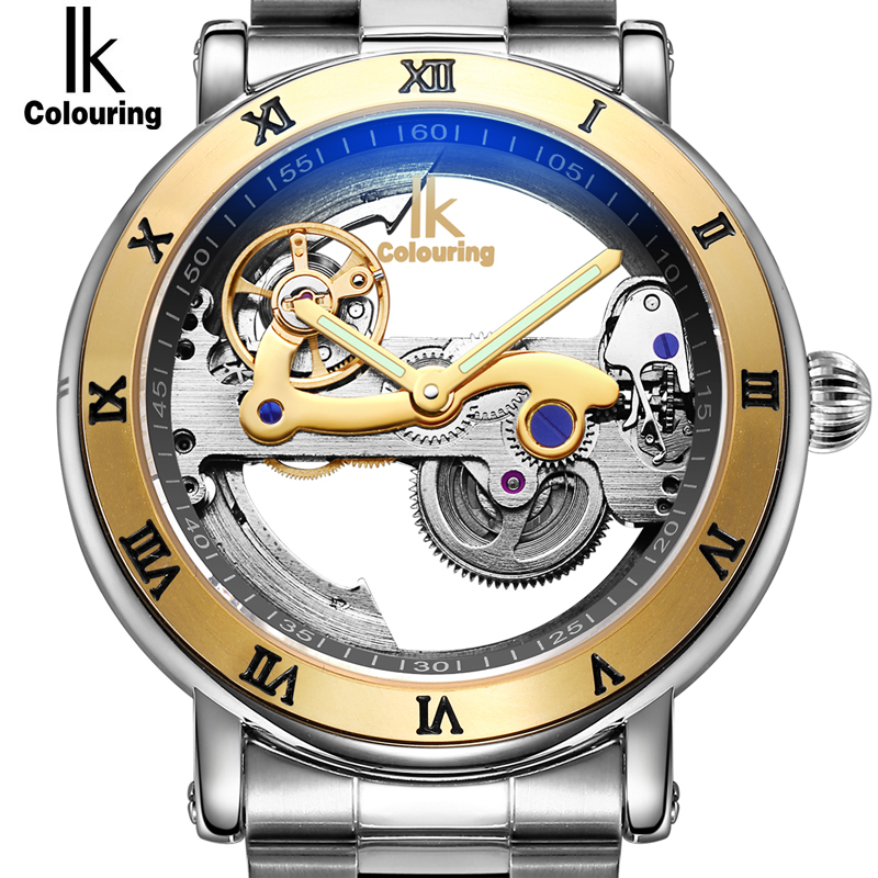 IK Automatic Mechanical Watches Men Brand Luxury Rose Gold Case Stainless Steel Skeleton Transparent Watch relogios masculino ik top brand luxury self wind automatic mechanical watches men rose gold case genuine leather skeleton watch relogios masculino