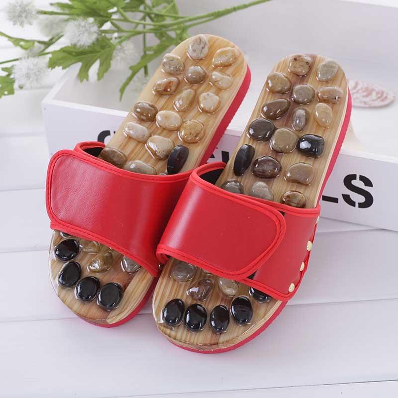 купить Pebble Stone Foot Massage Slippers Reflexology Feet Elderly Acupuncture Health Shoes Sandals Slippers Healthy Massager Foot Care онлайн