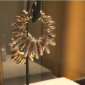 Image 1 - GODKI luksusowe Bamboo Knot Cubic cyrkon oświadczenie duże kolczyki koła dla kobiet ślub dubaj Bridal okrągłe koło Hoop kolczyki 2019