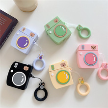For AirPods Case 3D Cartoon Earphone Cases Apple Airpods 2 cute Accessories Protect Cover with Finger Ring Strap bear camera