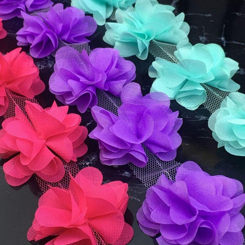 Цветы 3D шифон цветочный букет кружевное платье украшение кружевная ткань Аппликация Кружевное шитье поставки