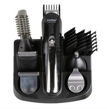 Cortadora de pelo recargable KM-600 profesional 6 en 1 cortadora de pelo Afeitadora eléctrica recortadora de barba y nariz herramientas de estilismo para hombres