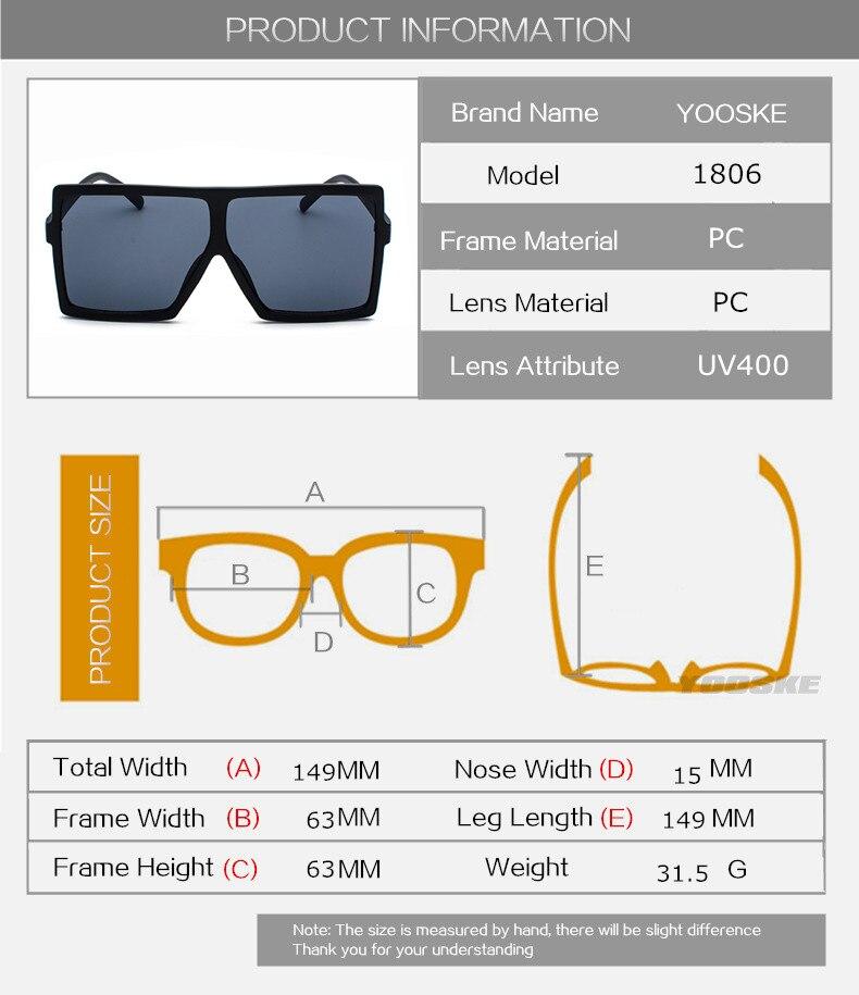 832d8bf848 YOOSKE Oversized Sunglasses for Women Brand Designer Vintage Sun Glasses  Men Big Frame Glasses Female Male
