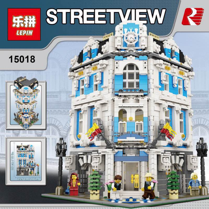 New 3196pcs Lepin 15018 MOC City Series The Sunshine Hotel Set Building Blocks Bricks Educational Toys DIY Children Day's Gift lepin 01045 1676pcs girls series heartlake grand hotel set children eucational building blocks bricks toys model gift 41101