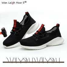 Mens Summer Outdoor Breathable Mesh Light & Comfortable Steel Toe Protective Work Shoes Boots Men Puncture Proof Safety