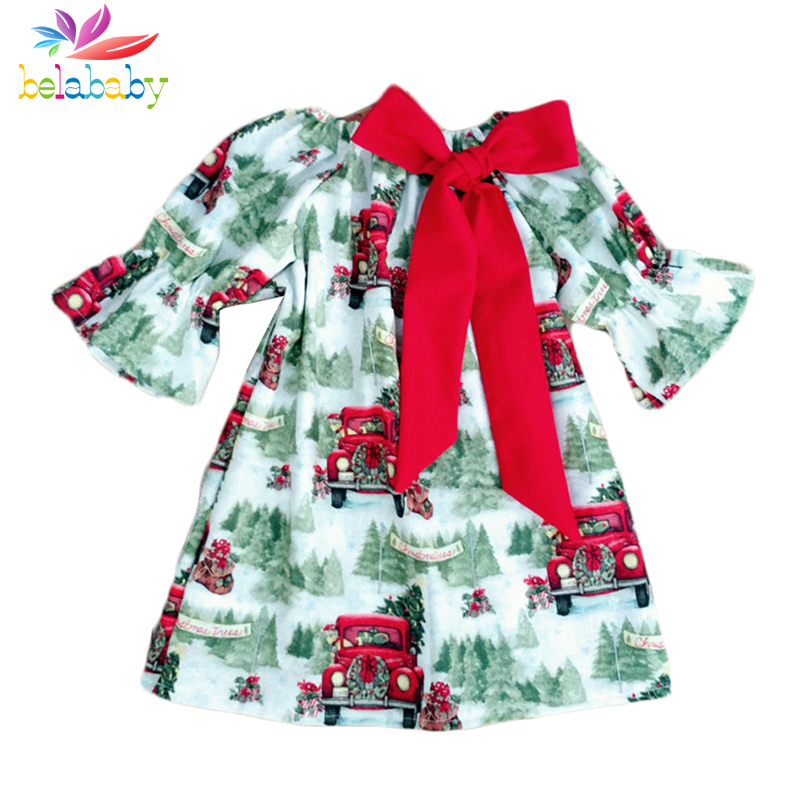 Belababy Baby Girl Clothes Christmas Dress Bow 2018 New Toddler Flare Sleeve Print Dresses For Girls Autumn Kids Clothing