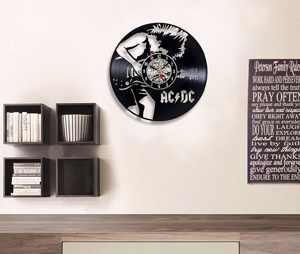 Wall Decoration Gifts : Acdc vinyl wall clock art gift room modern home record