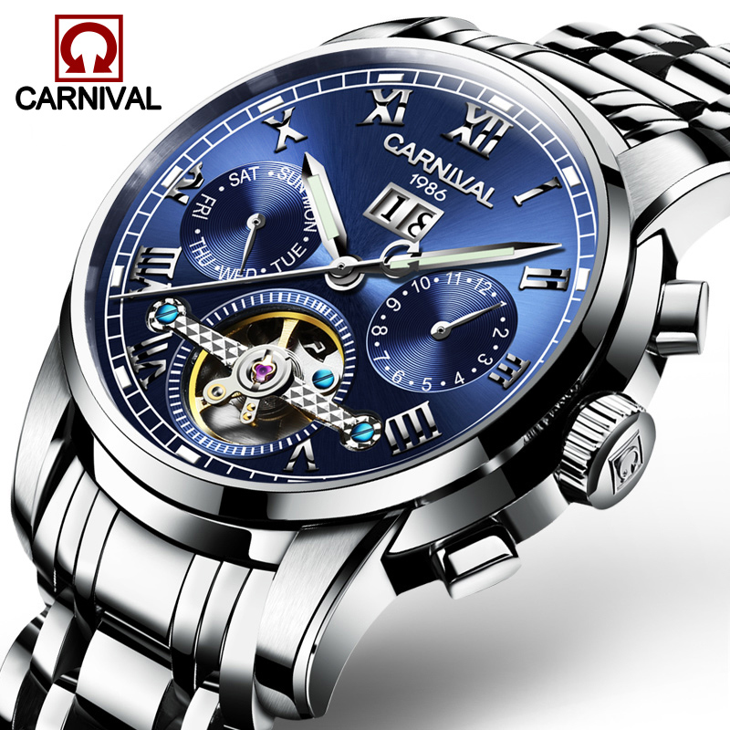 Carnival Watch Men tourbillon Automatic Mechanical Silver Stainless Steel Waterproof multifunction Blue Dial Watches