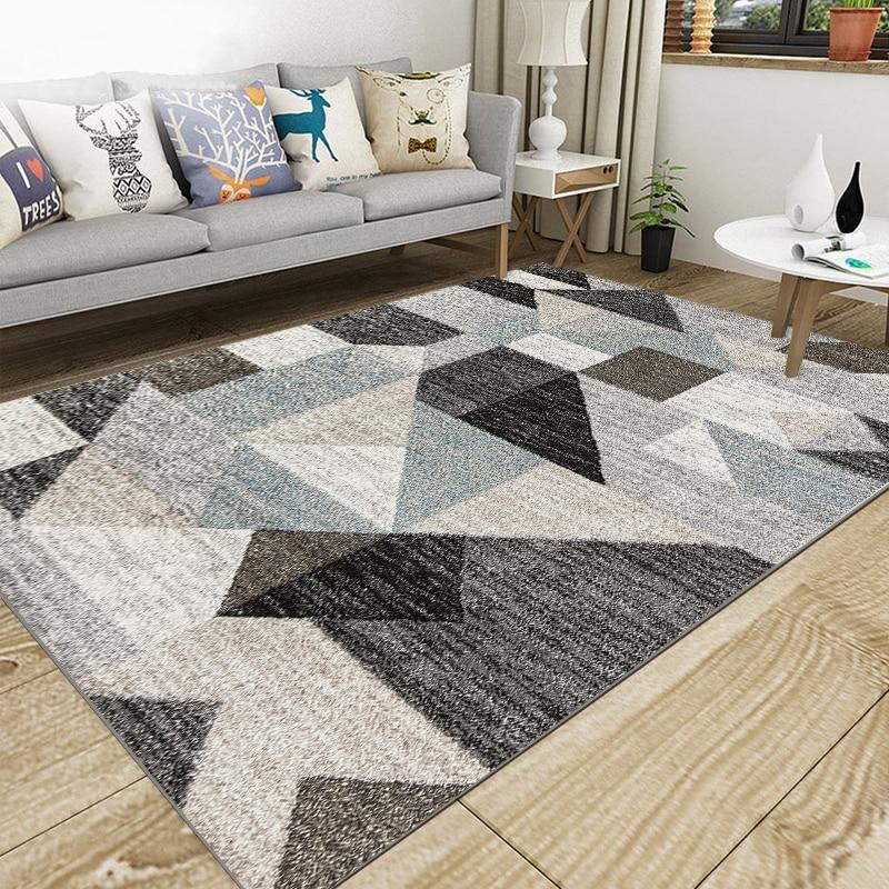 Nordic Living Room Big Carpet Super Flannel Point Plastic Anti slip Area Rug Winter Warm Thick TriangleDecor Bedroom Carpets Rug