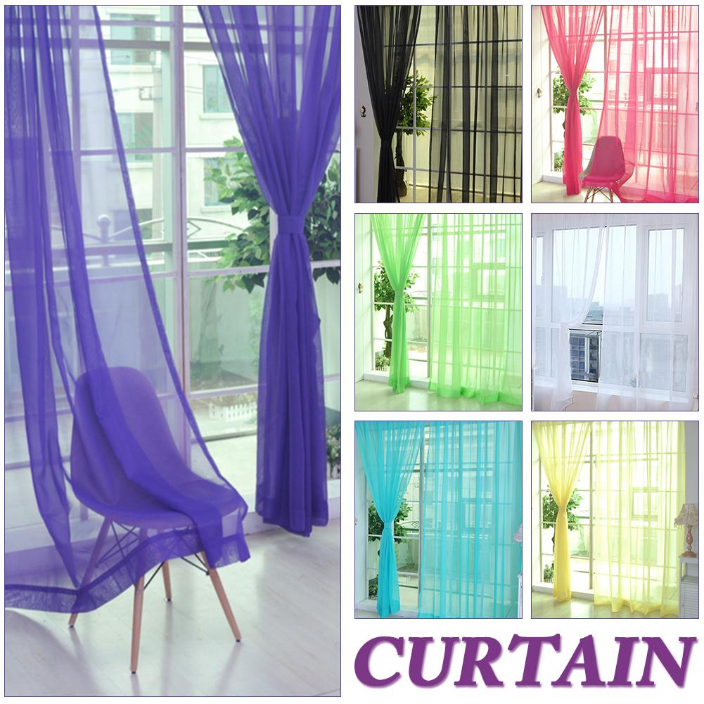 Colors Tulle Translucent Curtain Door Window Curtain Washable Drape Panel Sheer Scarf Valances Home Decoration Curtains-in Curtains from Home & Garden