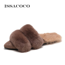 ISSACOCO Fashion Women Slippers Winter Faux Fur Slides Ladies Warm Plush Mules Slip On Casual Flat Shoes Woman Furry Flip Flops