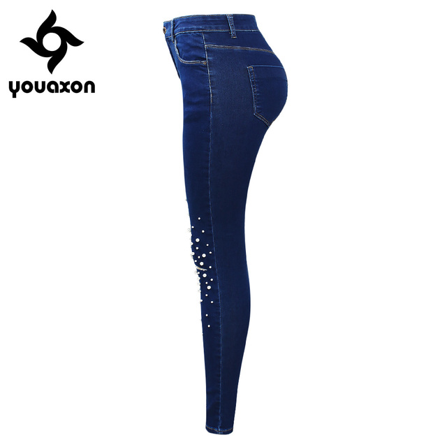 2180 Youaxon Brand New Ladies High Waist Ripped Jeans With Beads Women`s Blue Stretchy Denim Pants Jean Femme For Woman Jeans