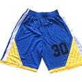 2016 Poliéster Homens S-5XL Barato Colleage Basketball Reminiscência Jersey Caril Azul Shorts Mens Camisa De Basquete Esportes Calções de Marca