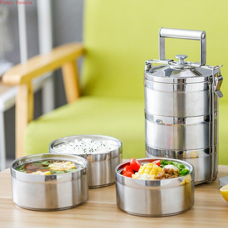 Acier inoxydable 1.4L 2.1L 2.8L récipient alimentaire boîte à Lunch Thermos école Bento stockage Portable Lunchbox vaisselle