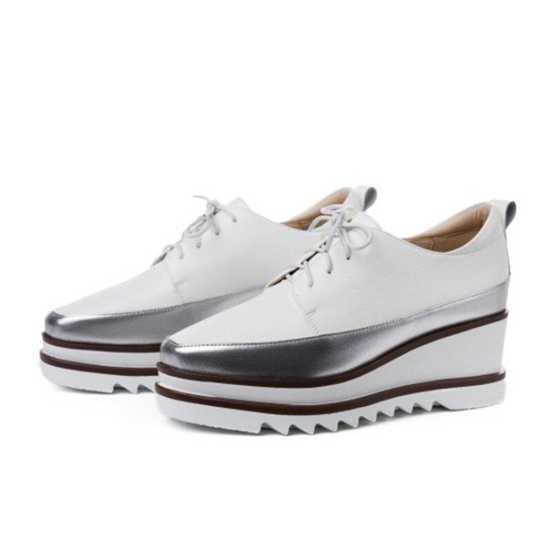 Zapatos de plataforma de primavera 2019 zapatos de tacón alto de mujer zapatos de cuero genuino de punta cuadrada zapatos de cuña cómodos de mujer-in Zapatos de tacón de mujer from zapatos    3