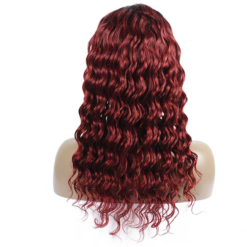 Ienvy красный Омбре человеческие волосы парик свободные глубокая волна Кружева передние парики бразильский 1B 99J кудрявый парик их натуральных волос бордовый не Реми