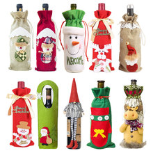 Christmas Wine Bottle Cover ,Santa Claus ,Decorations for Home, Natal Dinner Decor, New Year Gift