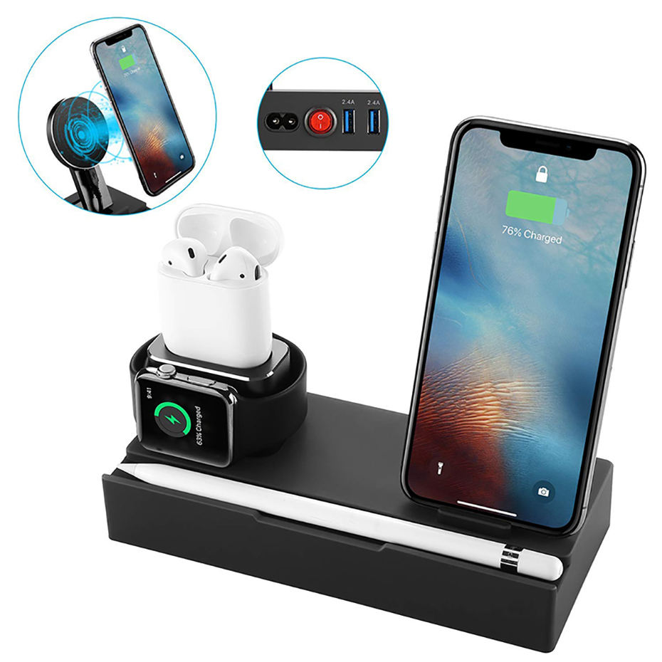 Multi Function Nightstand QI Wireless Charger For Iphone  Samsung Charger Stand For Airpods Apple Watch USB Charger Dock Station (1)