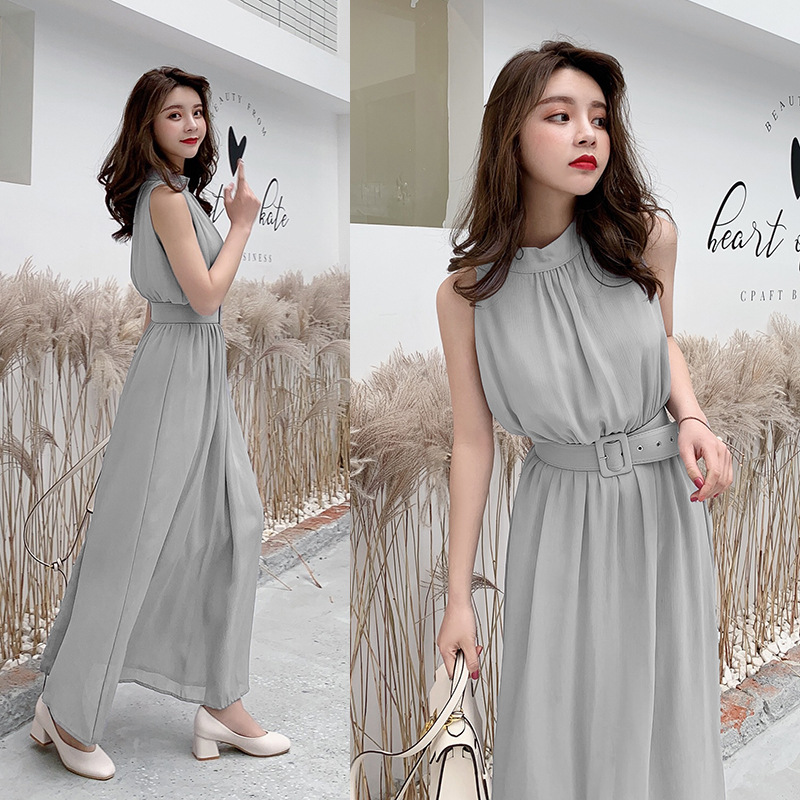 Long Chiffon Dress Women 2019 Summer Slim Sleeveless Beach Dress With Belt Elegant Women Solid Color Party Dress