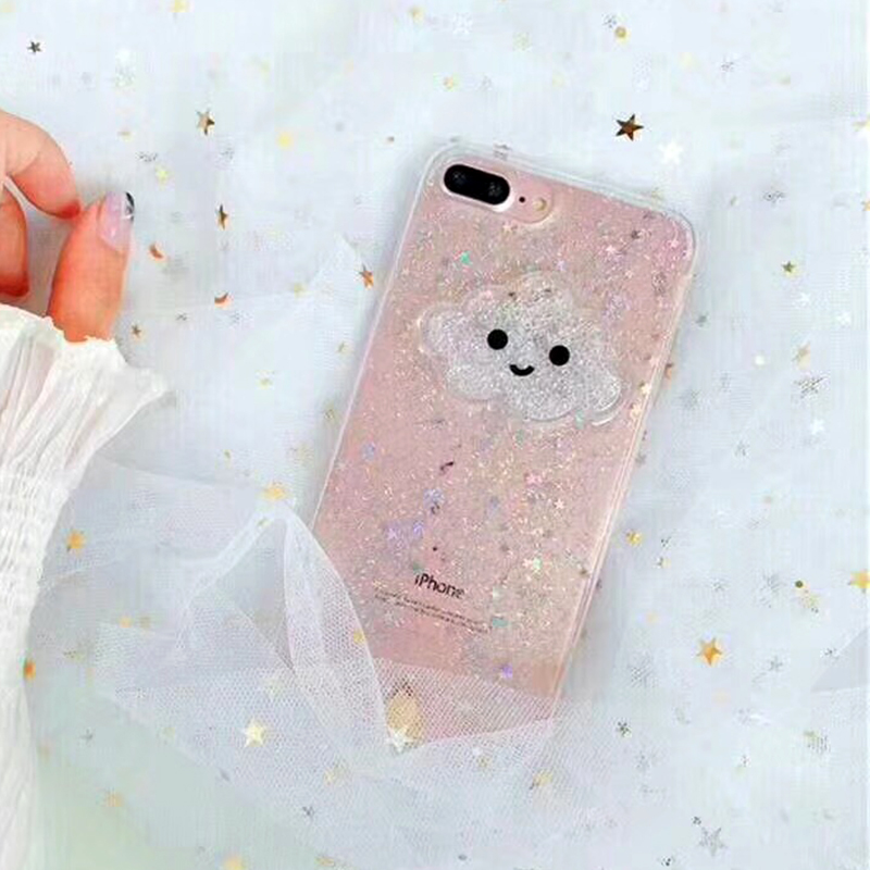 Cute Glitter Powder Smile Face Clouds Mobile Phone Case For iPhone X Soft TPU Dynamic Beads Back Cover For iphone 6 6s 7 8 Plus Case (6)
