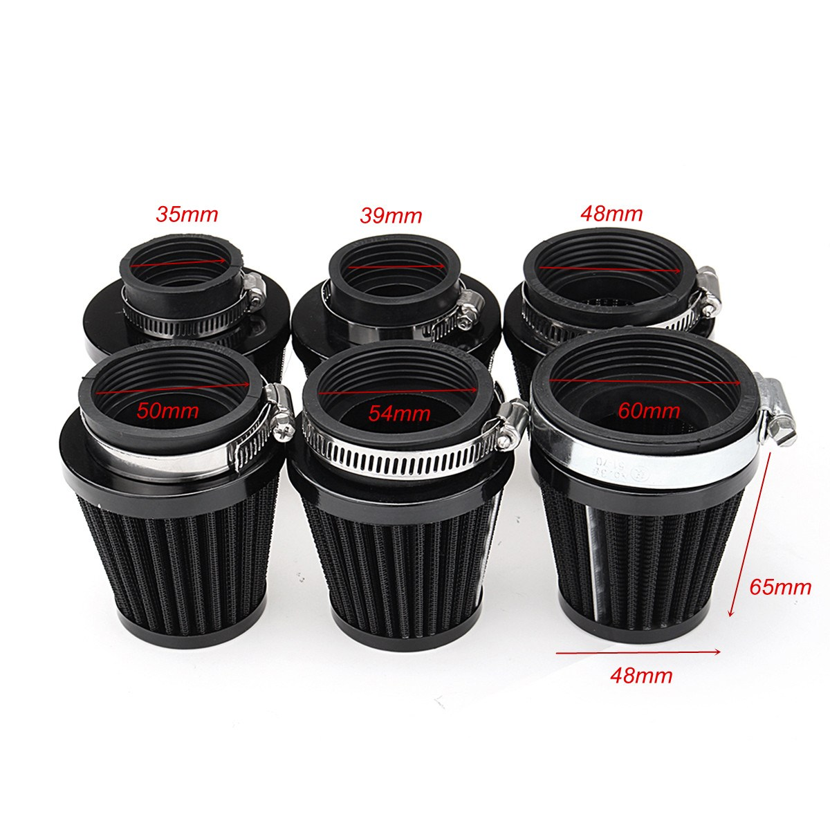 Universal Black Motorcycle Air Filter Pod Cleaner Fit ATV Dirt Bike Quad Scooter 35/39/48/50/54/60mm Pakistan