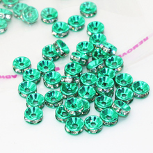 Fashion 7 colors rhinestone crystal inlay 30pcs spacers rondelle abacus beads 6 8 10 12mm diy jewelry findings accessories B2816
