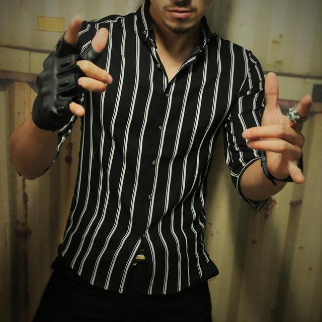 XXXXXL 2017 Vestido Formal Camisas Hombre Camisa A Rayas 3/4 Mens Casual Brand Camisas de Manga Camisas del Smoking de Los Hombres