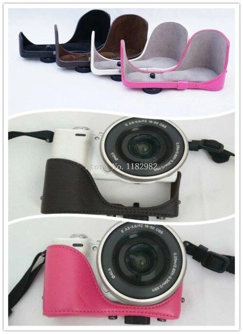 leather Digital Camera Bag Classical Arrival Half Body Set Cover Shoulder Strap for Sony 5T 5R 5R 5T Leather Camera Bag Case