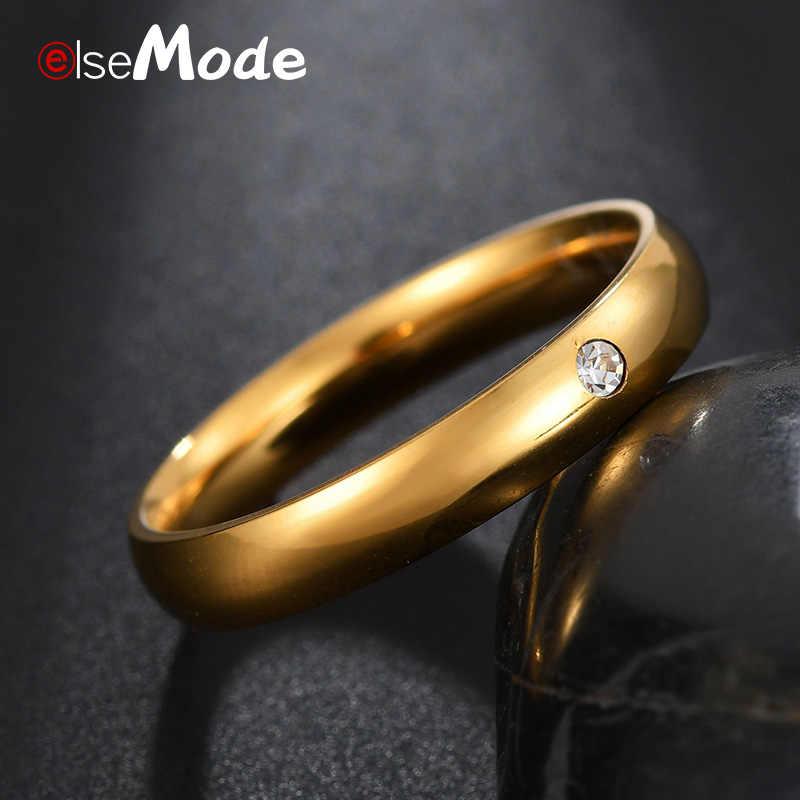 ELSEMODE แฟชั่น 4mm Simple Zircon คริสตัลหมั้นแหวน Gold Gold Rose Gold สำหรับสาวเครื่องประดับ