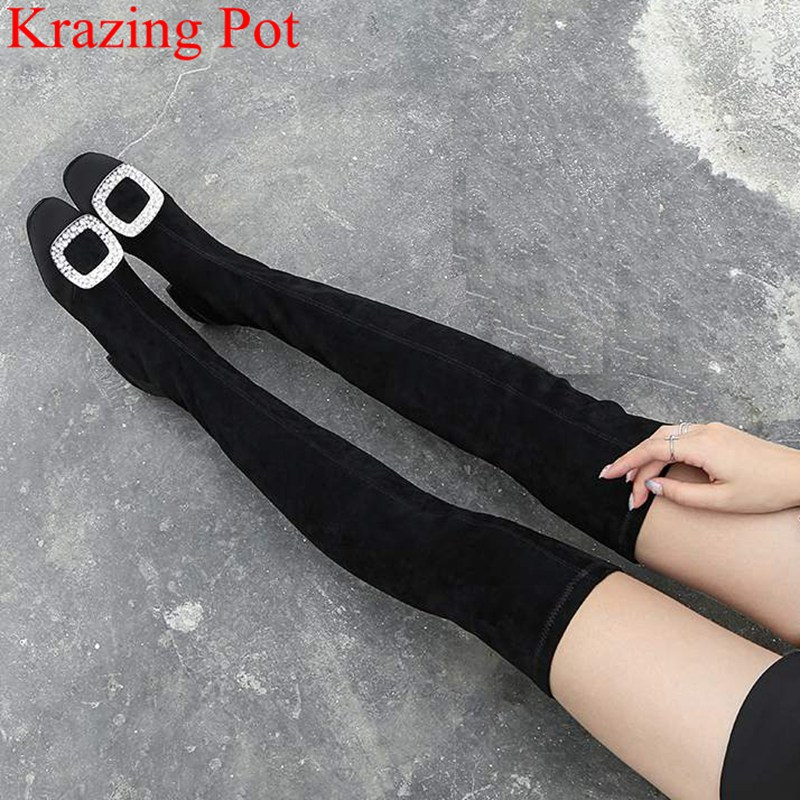 2018 New Arrival Large Size Crystal Flock Over-the-knee Boots Square Heel Slip On Square Toe Thigh High Boots Winter Shoes L27