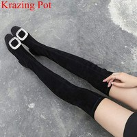 2018 new arrival large size crystal flock over the knee boots square heel slip on square toe thigh high boots winter shoes L27