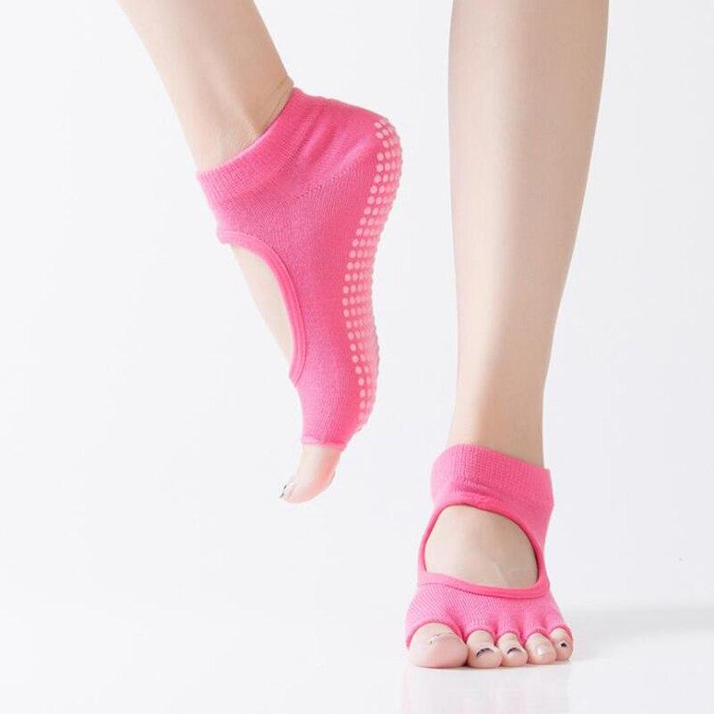 <+>  Женщины Спинки Йога Носки 5 Пальцев Носки Тренажерный Зал Спорт Crossfit Пилатес Нескользящие Полуса ①