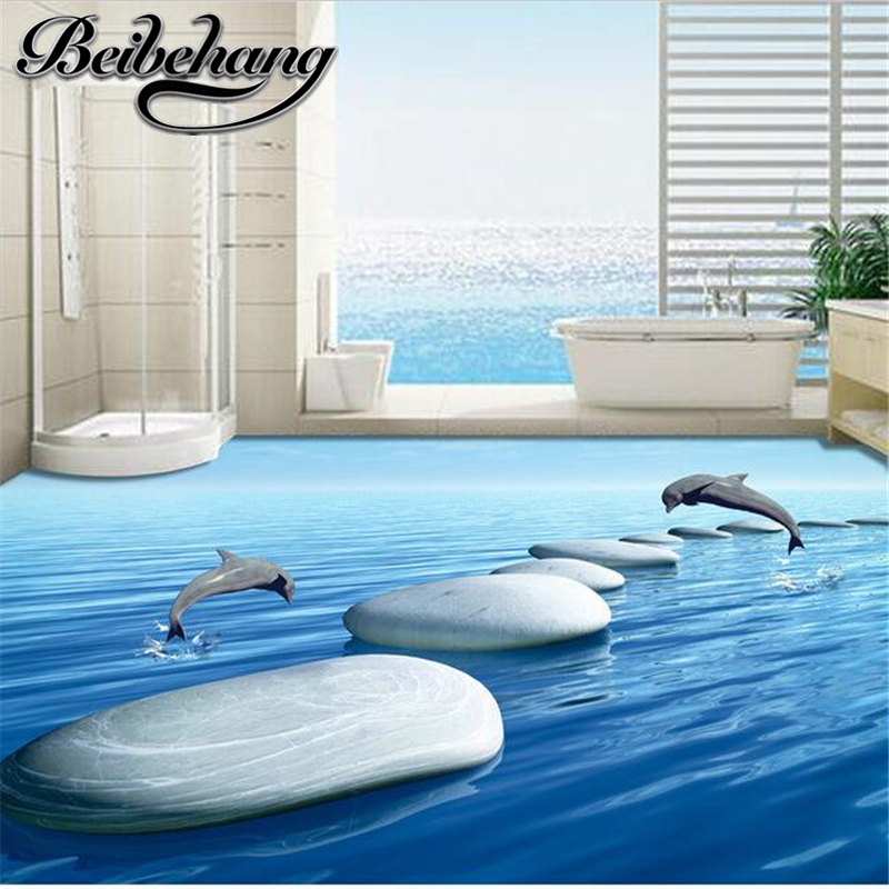 Beibehang 3 D Pvc Flooring Custom 3d Bathroom Flooring 3 D Underwater World Pebbles Dolphins To Download 3d Wall Mural Wallpaper