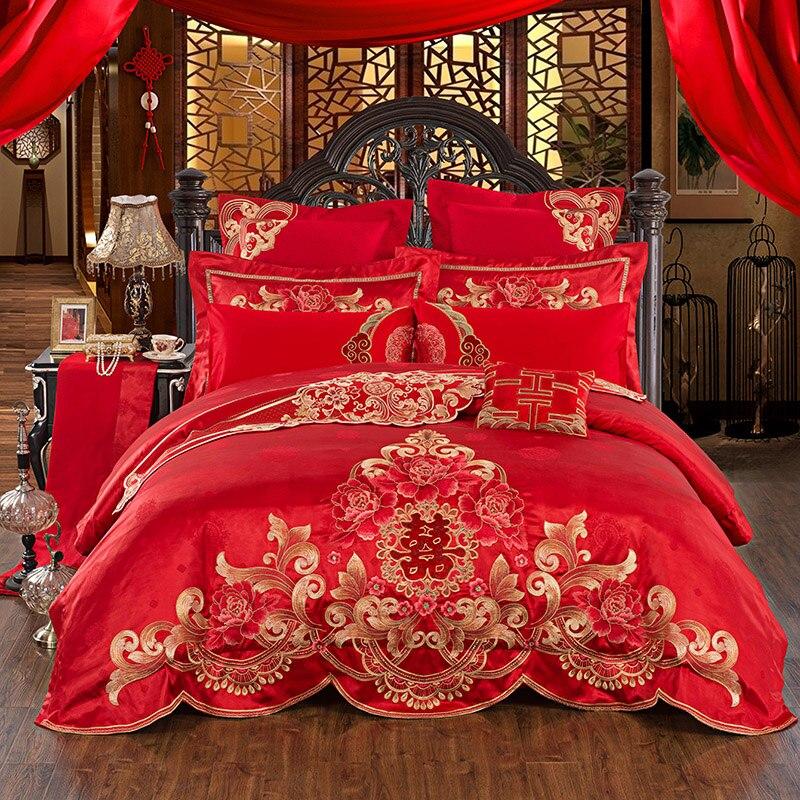 Coton égyptien De Mariage Hommage Soie Jacquard de luxe Ensembles de Literie Drap de Lit Queen King Size 4/6 pcs